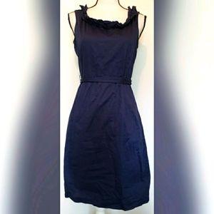 J Crew Factory Solid Navy Blue Dress Linen Belted